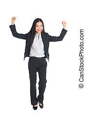 asian business woman celebrating success full body