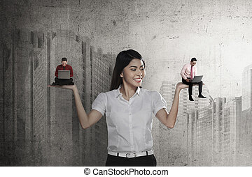Asian business woman choose two man working
