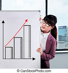 Asian business woman draw chart