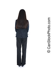 Asian business woman from the back - looking at something isolated over white background
