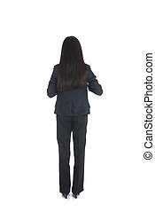 Asian business woman from the back looking at something isolated over white background