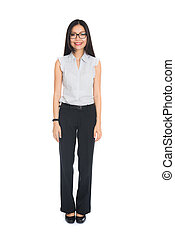 asian business woman full body on white background
