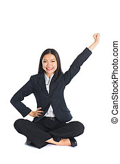 asian business woman hand raised