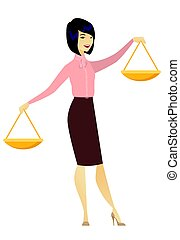 Asian business woman holding balance scale.