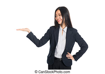 Asian business woman indicate blank space isolated
