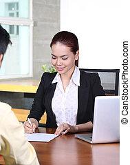 asian business woman job interview