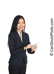 Asian business woman on cellphone