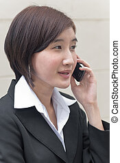 asian business woman on phone call