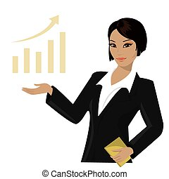 asian business woman pointing to business trends, cartoon ...