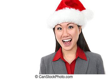 Asian Business Woman Santa