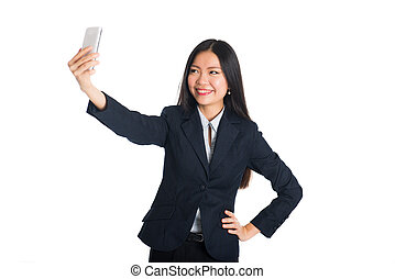 asian business woman selfie