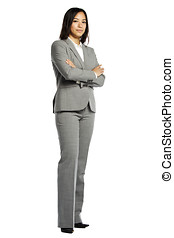 Asian business woman serious with crossed arms