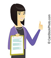 Asian business woman showing clipboard.