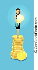 Asian Business Woman Stand On Coins Hold Light Bulb Success Idea Wealth Concept