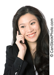 Asian business woman talking on phone.