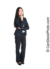 asian business woman thinking full body isolated in white