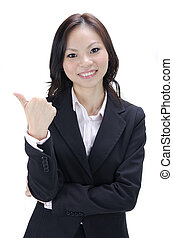 asian business woman thumbs up