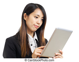 asian business woman using computer tablet