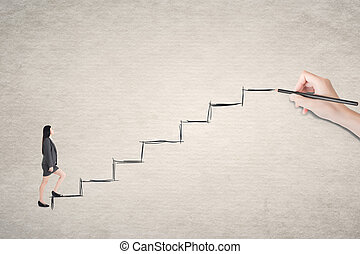 Asian business woman walk on stairs