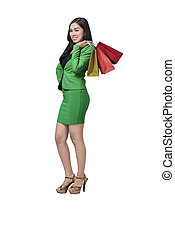 Asian business woman with shopping bag