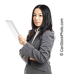 Asian business woman with tablet