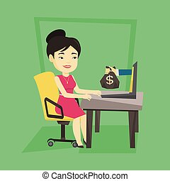 Businesswoman earning money from online business.