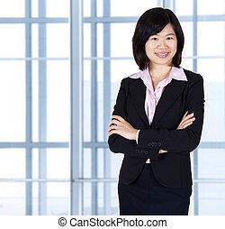 Asian business women standing in office.