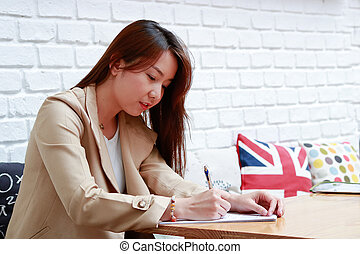 Asian business women working in the home