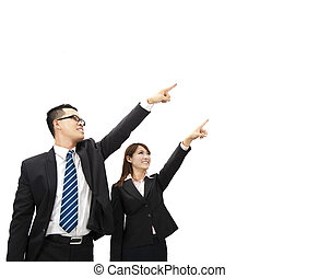 asian businessman and businesswoman pointing at something and isolated on white