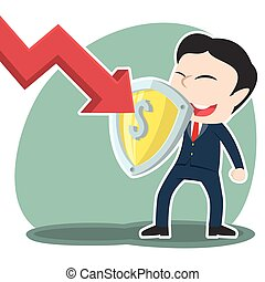 Asian businessman blocking down graph with shield