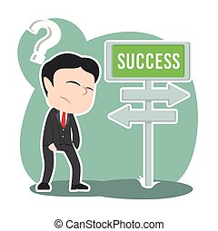 Asian businessman confuse with success road direction