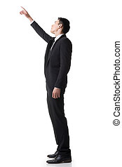 businessman finger pointing up