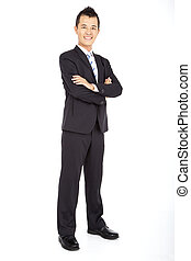 asian Businessman full length isolated on white