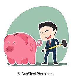 Asian businessman going to break piggy bank