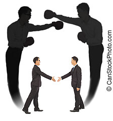 Asian businessman handshake with fighting shadow