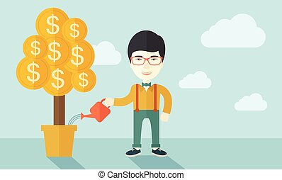 Asian businessman happily watering the money tree.