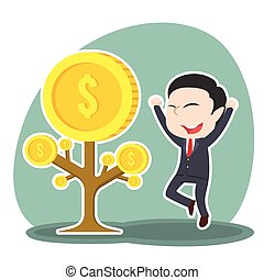 Asian businessman happy his coin tree grow