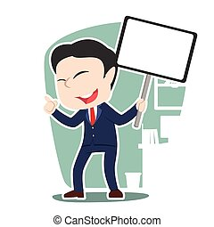 Asian businessman holding board sign