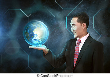 Asian businessman holding earth planet on his hand