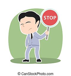 Asian businessman holding stop sign
