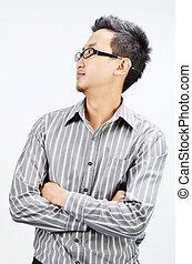 Asian businessman looking side