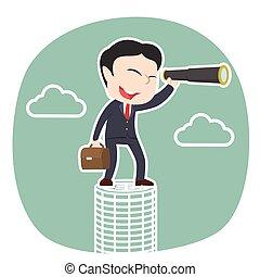 Asian businessman looking through monocular on coins