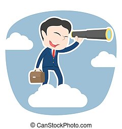 Asian businessman on clouds looking through monocular