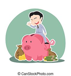 Asian businessman on piggy bank with a lot of money