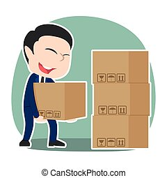 Asian businessman pile up boxes