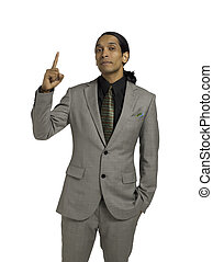 asian businessman pointing up
