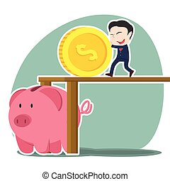 Asian businessman pushing big coin into piggy bank