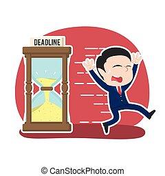 Asian businessman running away from deadline