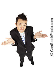 asian businessman shrugging and isolated on white