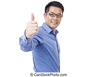 asian businessman showing thumb-up sign, isolated on white.